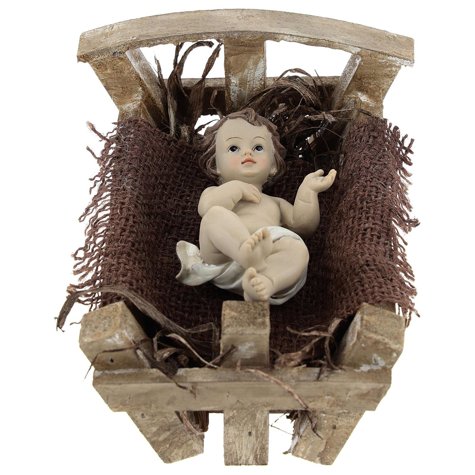 Gesù Bambino resina con culla legno 16 cm (h reale) 3