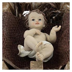 Gesù Bambino resina con culla legno 16 cm (h reale) s2