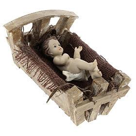 Gesù Bambino resina con culla legno 16 cm (h reale) s4