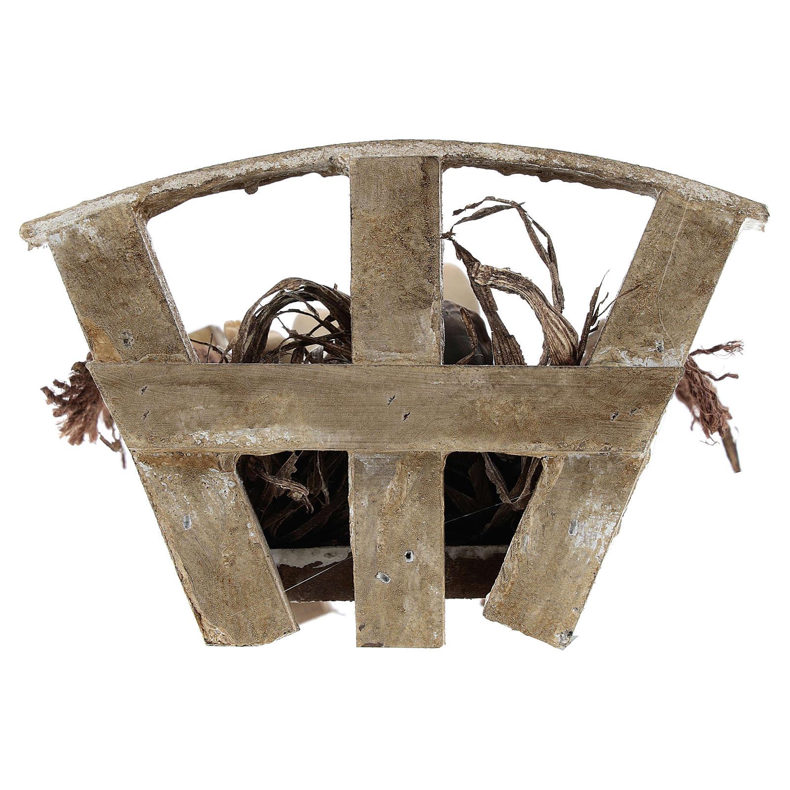 Baby Jesus in wood manger, resin 16 cm (real h) 3