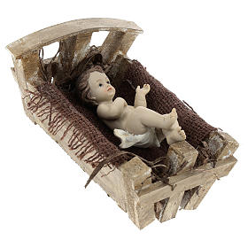 Baby Jesus in wood manger, resin 16 cm (real h) s4