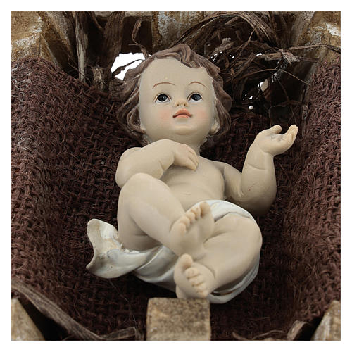 Baby Jesus in wood manger, resin 16 cm (real h) 2