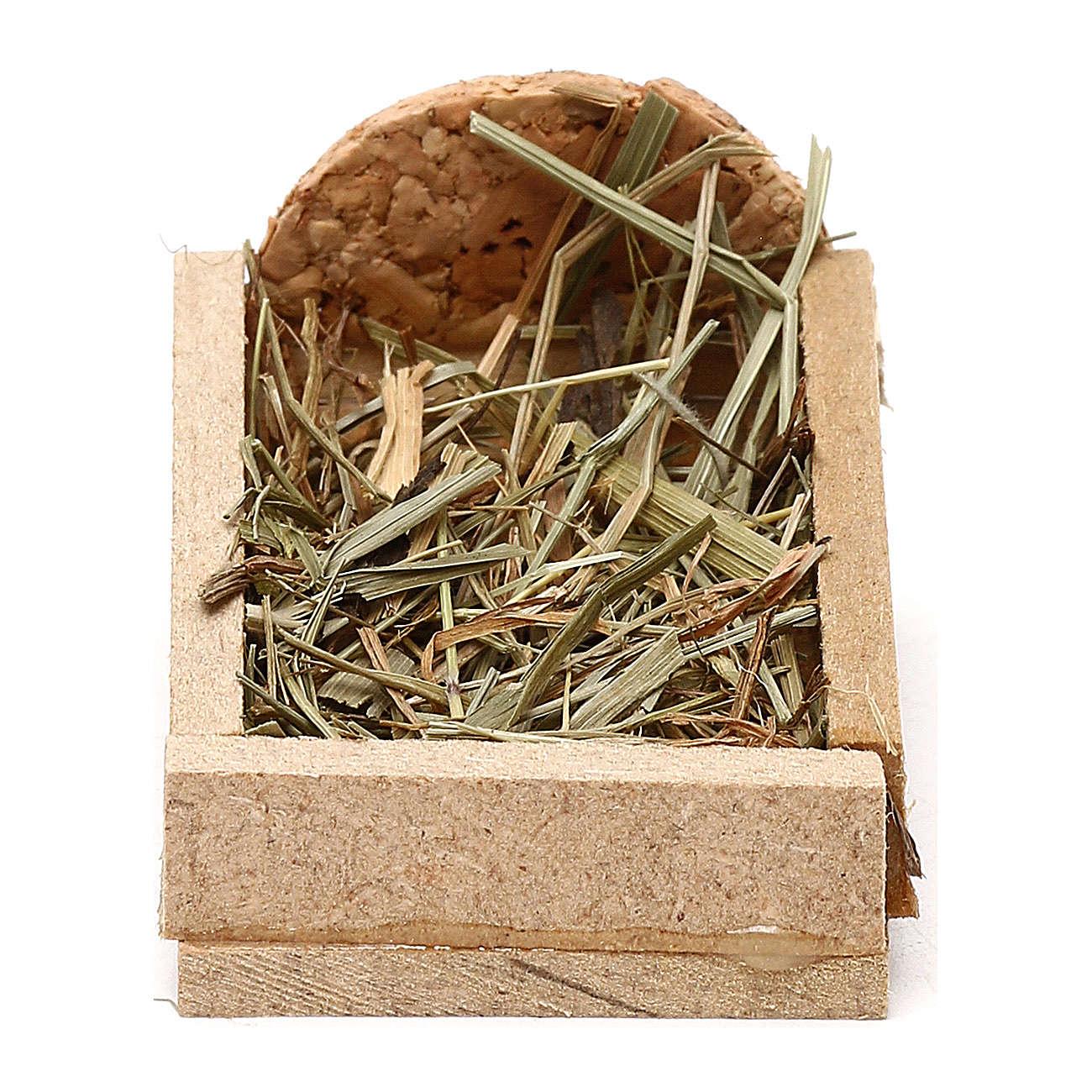 Berço em madeira e palha para presépio com figuras de 5 cm de altura média 3
