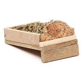 Berço em madeira e palha para presépio com figuras de 5 cm de altura média s3