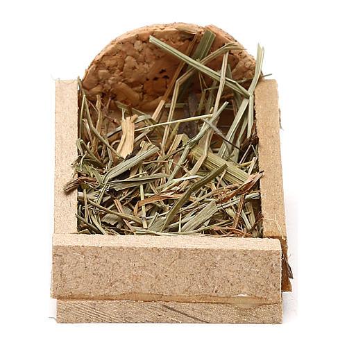Berço em madeira e palha para presépio com figuras de 5 cm de altura média 1