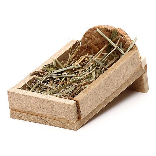 Berço em madeira e palha para presépio com figuras de 5 cm de altura média 2