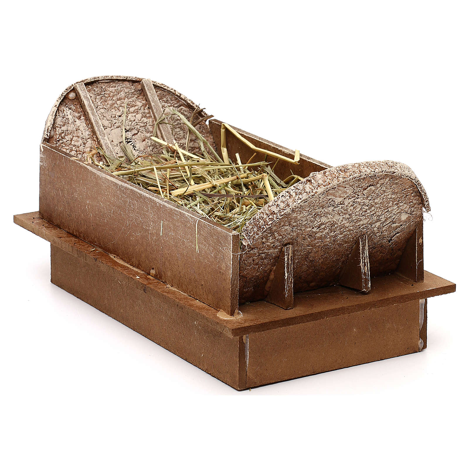 Cradle made of wood and straw for Nativity Scene 20 cm 3