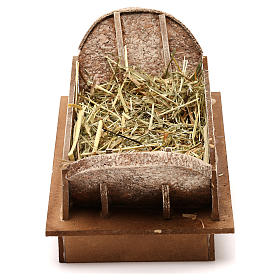 Cradle made of wood and straw for Nativity Scene 20 cm s1