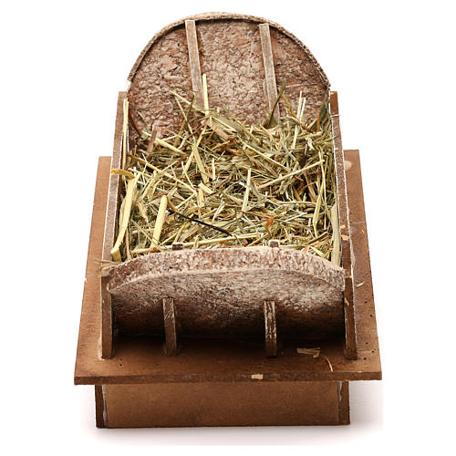 Cradle made of wood and straw for Nativity Scene 20 cm 1