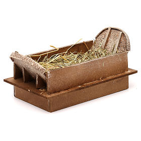 Manger in wood and straw, 20 cm nativity s2