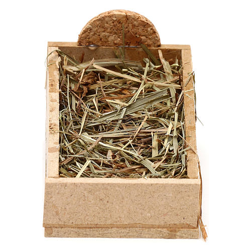 Cradle made of wood and straw for Nativity Scene 10 cm 1
