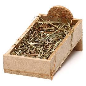 Cuna de madera y pajizo belén 10 cm s2