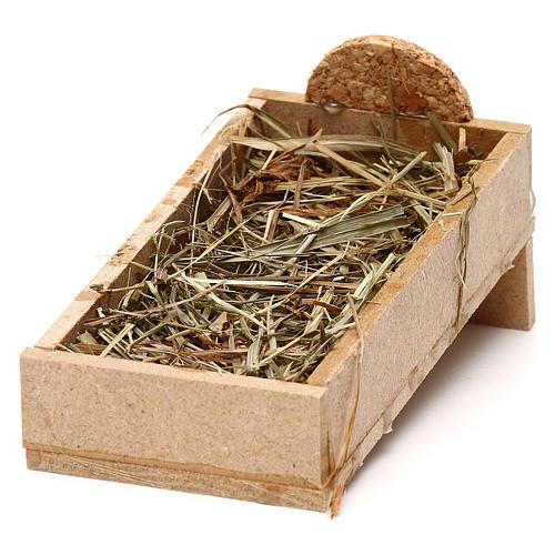 Kołyska z drewna i słoma szopka 10 cm 2