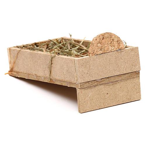 Kołyska z drewna i słoma szopka 10 cm 3