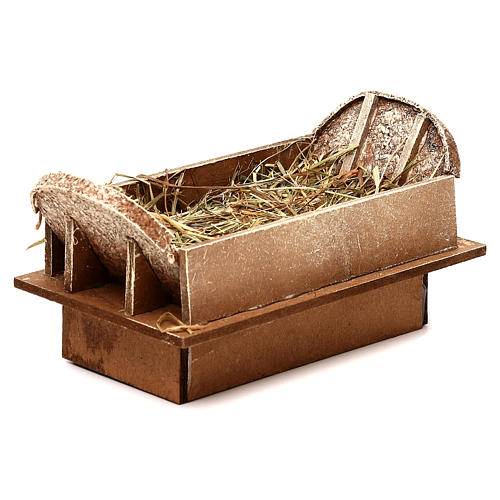 Cradle made of wood and straw for Nativity Scene 16-18 cm 2