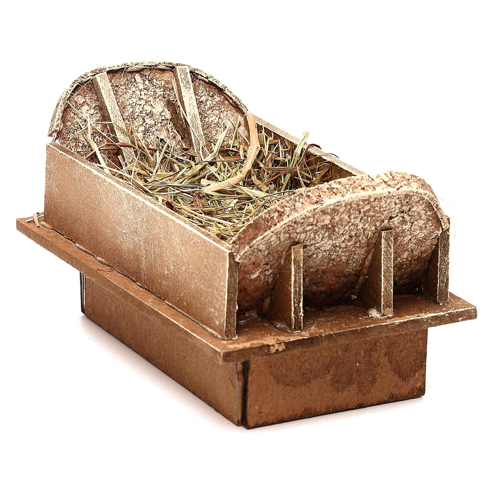 Berceau en bois et paille crèche 16-18 cm 3