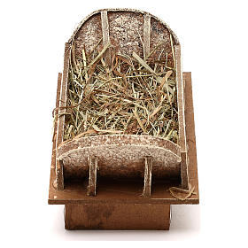 Manger in wood and straw, for 16-18 cm nativity set s1