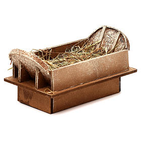 Manger in wood and straw, for 16-18 cm nativity set s2