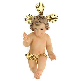 Baby Jesus in wood paste, 20 cm elegant finish s1