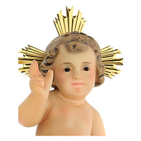Baby Jesus in wood paste, 20 cm elegant finish s2