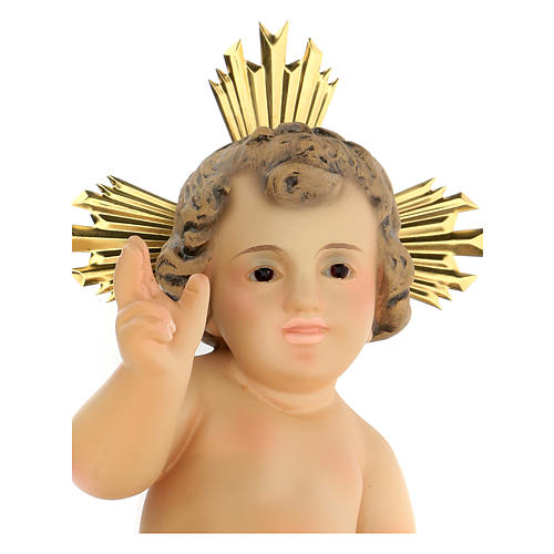 Baby Jesus in wood paste, 20 cm elegant finish 2