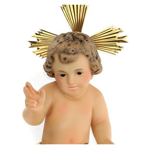 Baby Jesus in wood paste, 20 cm elegant finish 3