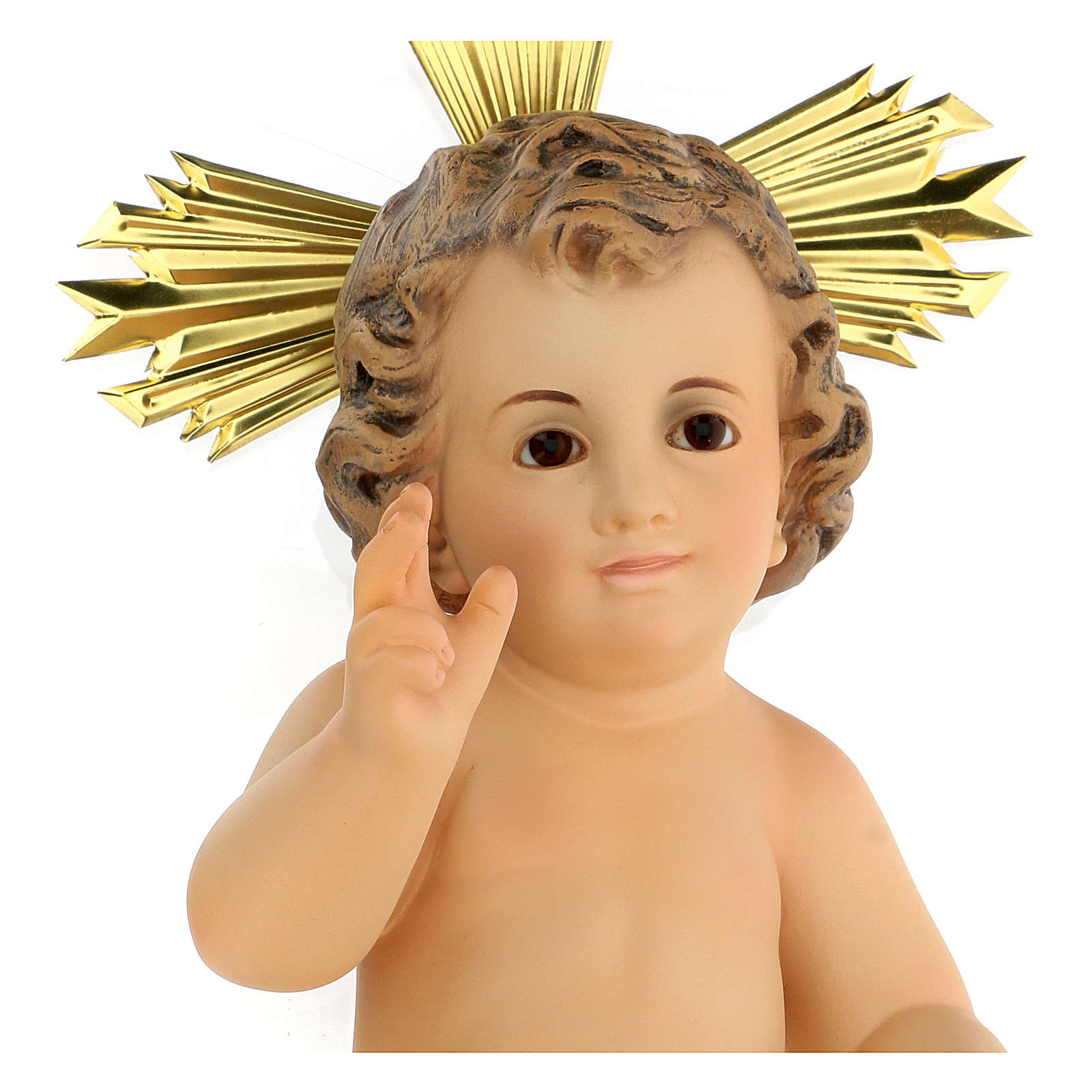 Baby Jesus in wood paste, 30 cm elegant finish 3