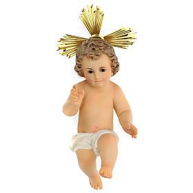 Gesù bambino statua pasta legno veste panna 30 cm dec. elegante s1