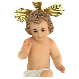 Gesù bambino statua pasta legno veste panna 30 cm dec. elegante s3