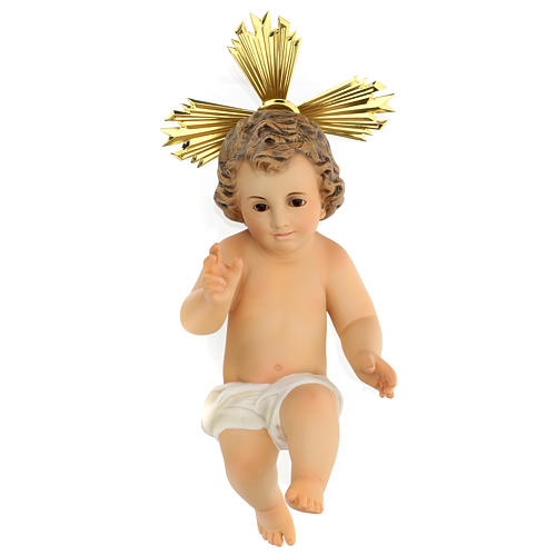 Gesù bambino statua pasta legno veste panna 30 cm dec. elegante 1