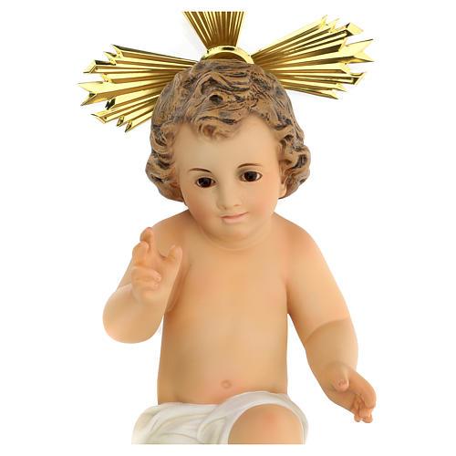 Gesù bambino statua pasta legno veste panna 30 cm dec. elegante 3