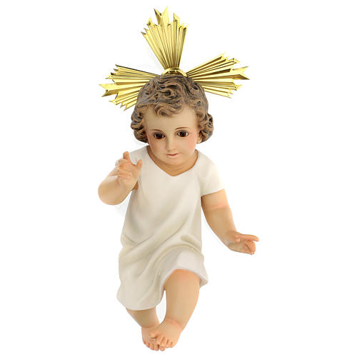 Baby Jesus in wood paste, 35 cm elegant finish 1