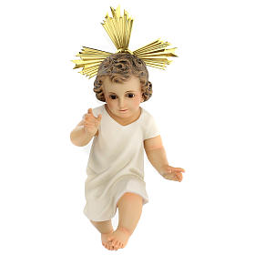 Niño Jesús estatua pulpa madera vestido crema 35 cm dec. elegante s1