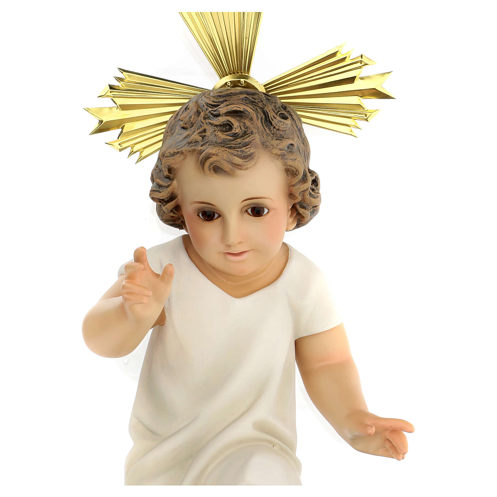 Bambinello statua pasta legno veste panna 35 cm dec. elegante 3