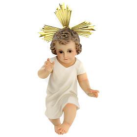Bambinello statua pasta legno veste panna 35 cm dec. elegante s1