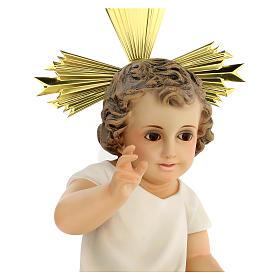 Bambinello statua pasta legno veste panna 35 cm dec. elegante s2