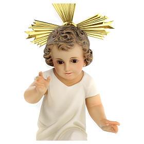 Bambinello statua pasta legno veste panna 35 cm dec. elegante s3