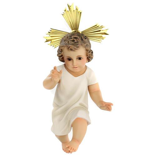 Bambinello statua pasta legno veste panna 35 cm dec. elegante 1