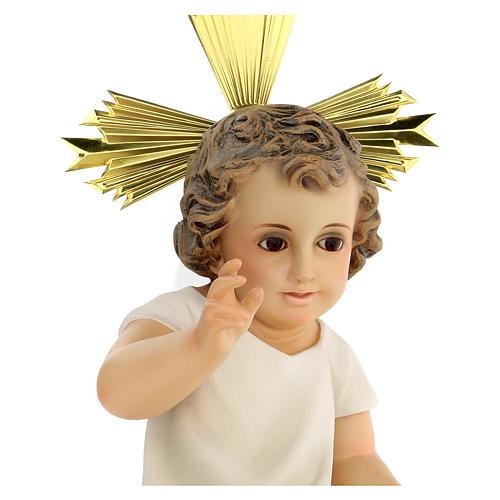 Bambinello statua pasta legno veste panna 35 cm dec. elegante 2