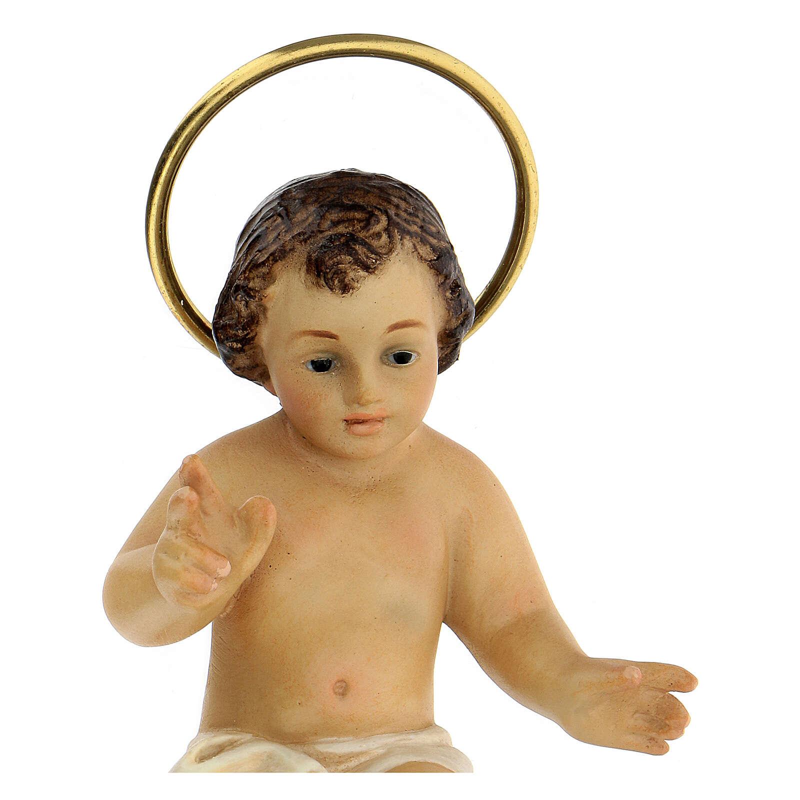STOCK Niño Jesús madera que bendice vestido blanco 10 cm dec. Elegante 3
