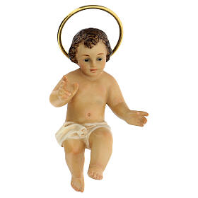 STOCK Gesù Bambino legno benedicente veste bianca 10 cm dec. Elegante s1