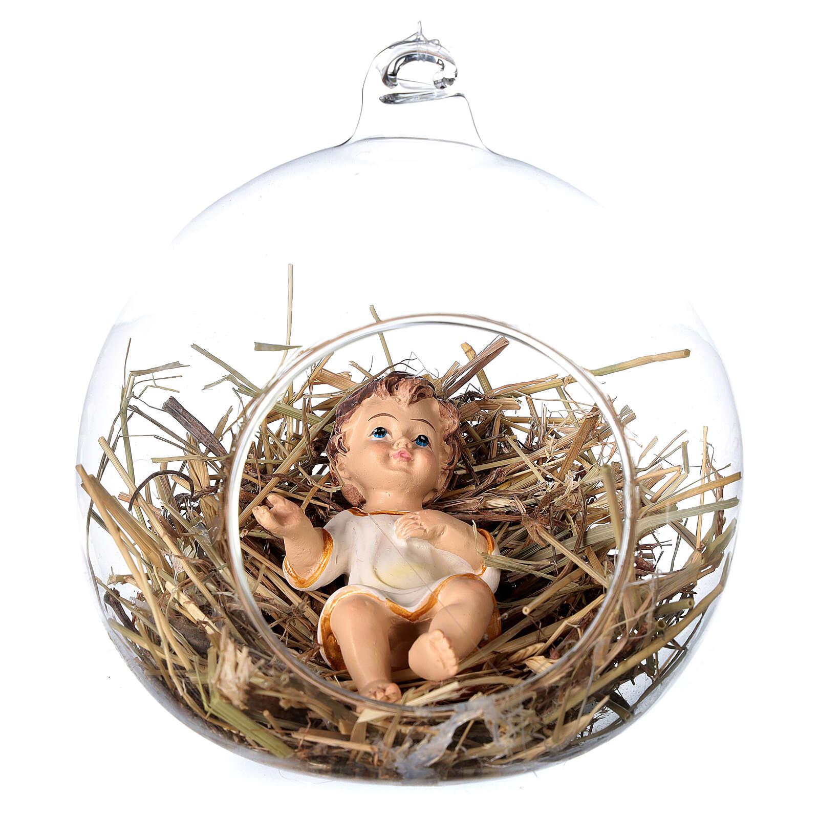 Estatua Niño Jesús 8 cm dentro de una esfera de vidrio 12 cm 4