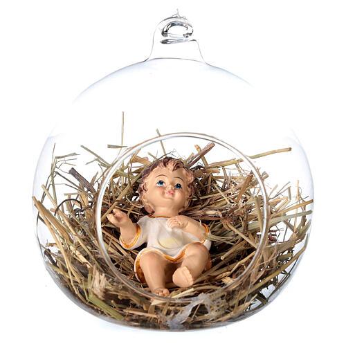 Estatua Niño Jesús 8 cm dentro de una esfera de vidrio 12 cm 1