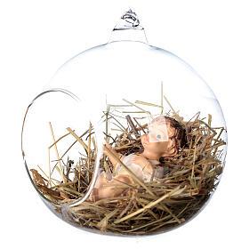 Baby Jesus statue 8 cm inside a glass ball 12 cm s2