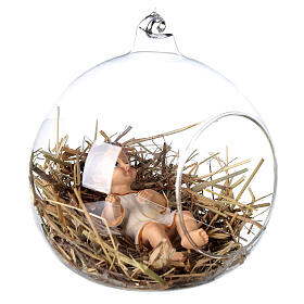 Baby Jesus statue 8 cm inside a glass ball 12 cm s3
