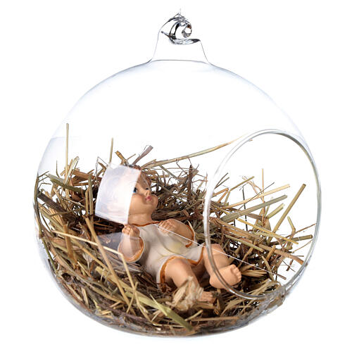 Baby Jesus statue 8 cm inside a glass ball 12 cm 3