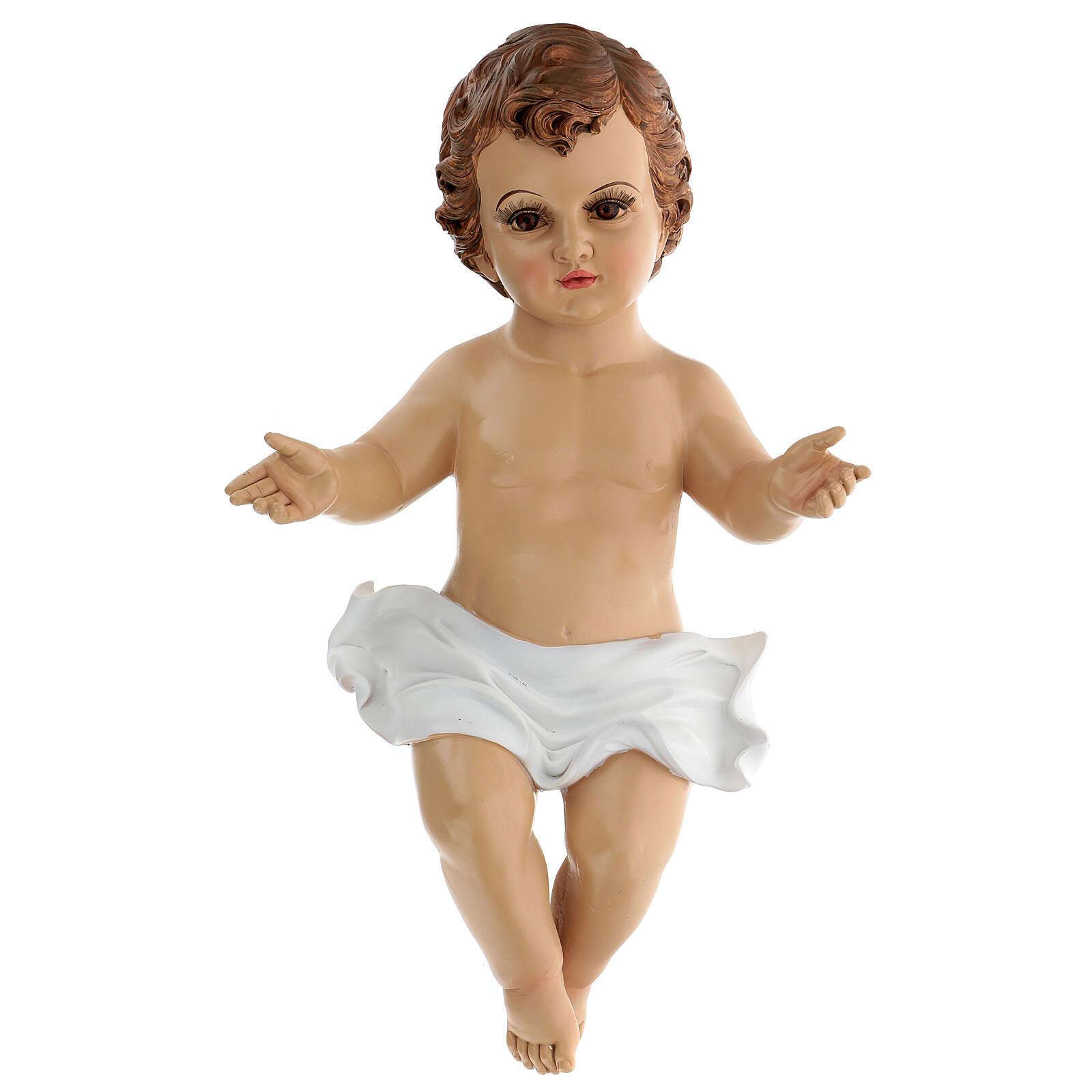 Gesù Bambino occhi vetro resina 45 cm presepe 150 cm 3