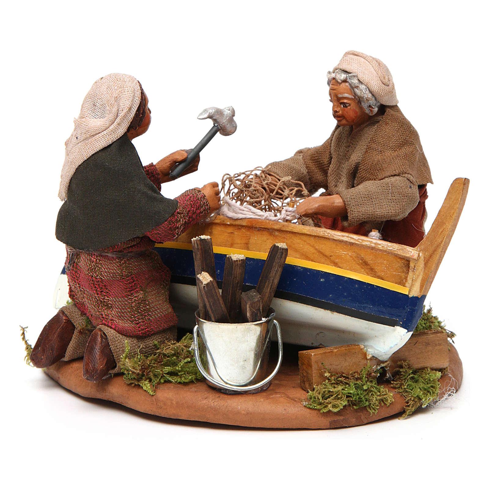 Pescatori con barca scenetta 10 cm 4