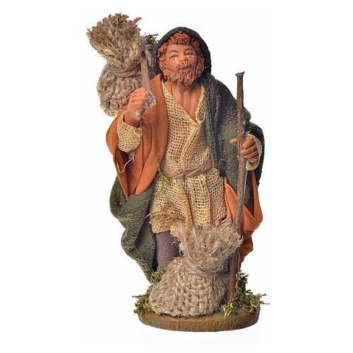 Pilgrim with bundle 10 cm for nativity scene 1
