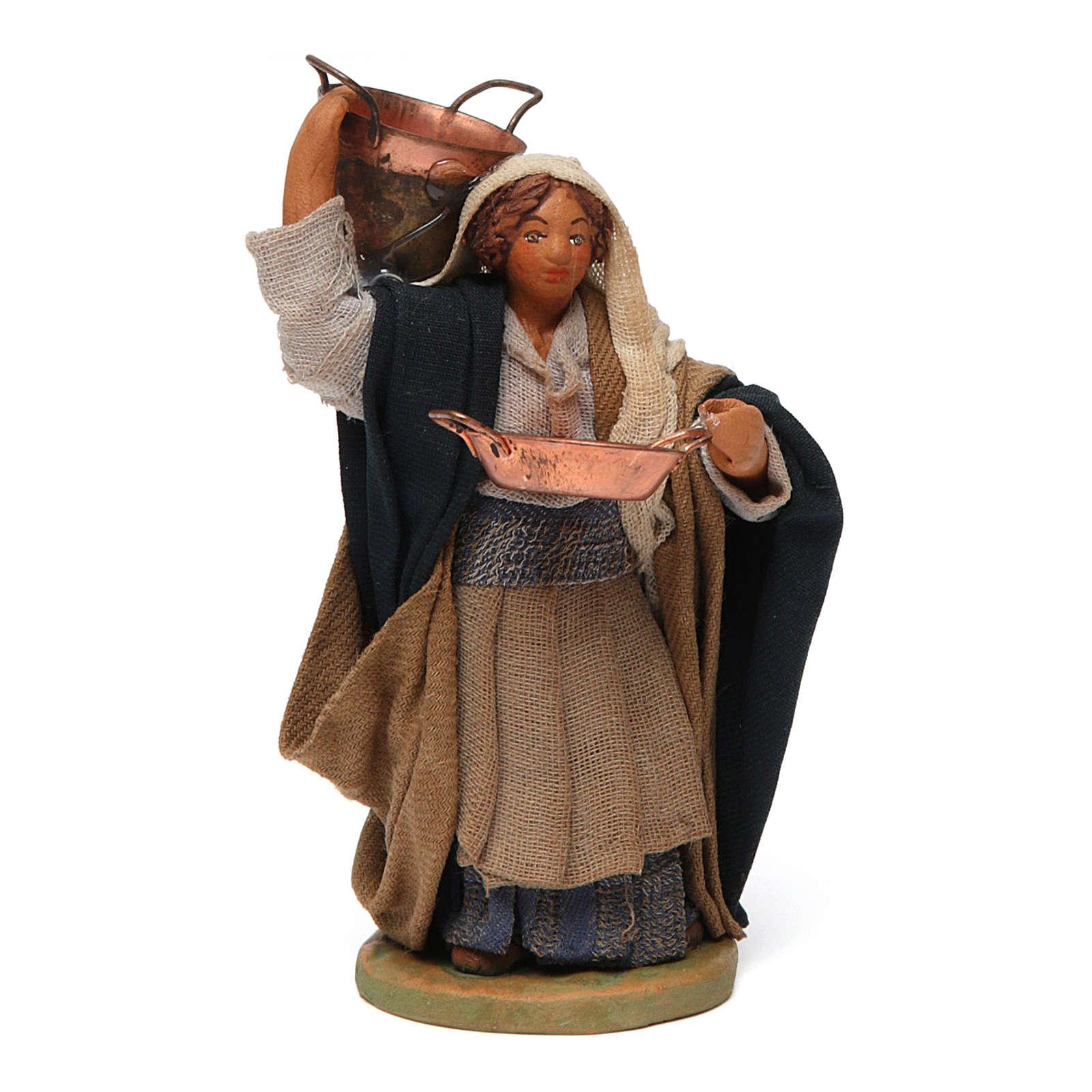 Femme avec casserole crèche Napolitaine 10 cm 4